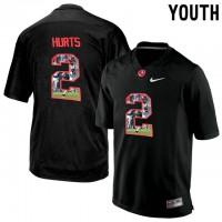 Alabama Crimson Tide #2 Jalen Hurts Black With Portrait Print Youth College Football Jersey3