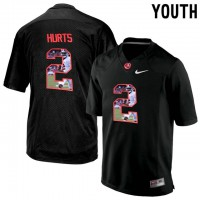 Alabama Crimson Tide #2 Jalen Hurts Black With Portrait Print Youth College Football Jersey4