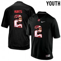 Alabama Crimson Tide #2 Jalen Hurts Black With Portrait Print Youth College Football Jersey5