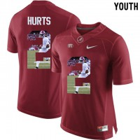 Alabama Crimson Tide #2 Jalen Hurts Red With Portrait Print Youth College Football Jersey
