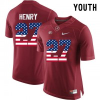 Alabama Crimson Tide #27 Derrick Henry Red USA Flag Youth College Limited Jersey