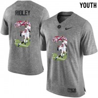 Alabama Crimson Tide #3 Calvin Ridley Gray With Portrait Print Youth College Football Jersey