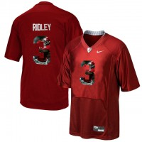 Alabama Crimson Tide #3 Calvin Ridley Red With Portrait Print College Football Jersey4