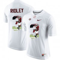 Alabama Crimson Tide #3 Calvin Ridley White With Portrait Print College Football Jersey
