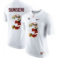 Alabama Crimson Tide #3 Vinnie Sunseri White With Portrait Print College Football Jersey
