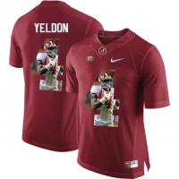 Alabama Crimson Tide #4 T.J. Yeldon Red With Portrait Print College Football Jersey