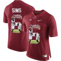 Alabama Crimson Tide #6 Blake Sims Red With Portrait Print College Football Jersey