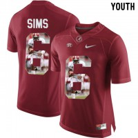 Alabama Crimson Tide #6 Blake Sims Red With Portrait Print Youth College Football Jersey3