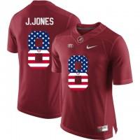 Alabama Crimson Tide #8 Julio Jones Red USA Flag College Limited Jersey
