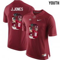 Alabama Crimson Tide #8 Julio Jones Red With Portrait Print Youth College Football Jersey2