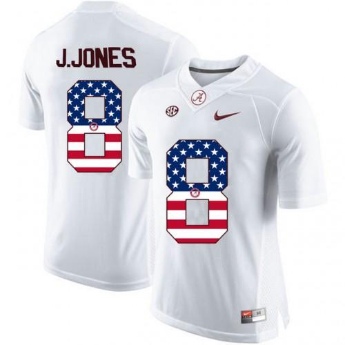new concept 7045b 4b869 Alabama Crimson Tide #8 Julio Jones White USA Flag College ...