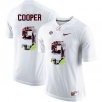 Alabama Crimson Tide #9 Amari Cooper White With Portrait Print College Football Jersey2