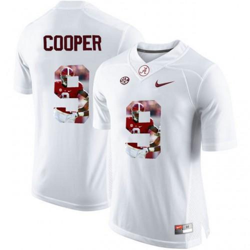 Alabama Crimson Tide  9 Amari Cooper White With Portrait Print College  Football Jersey4 22b6e0ea0
