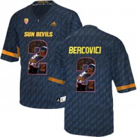 Arizona State Sun Devils #2 Mike Bercovici Black Team Logo Print College Football Jersey