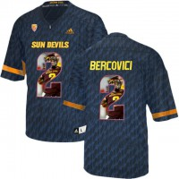 Arizona State Sun Devils #2 Mike Bercovici Black Team Logo Print College Football Jersey10