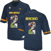 Arizona State Sun Devils #2 Mike Bercovici Black Team Logo Print College Football Jersey13
