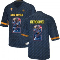 Arizona State Sun Devils #2 Mike Bercovici Black Team Logo Print College Football Jersey14