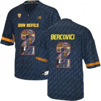 Arizona State Sun Devils #2 Mike Bercovici Black Team Logo Print College Football Jersey3