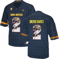 Arizona State Sun Devils #2 Mike Bercovici Black Team Logo Print College Football Jersey4