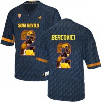Arizona State Sun Devils #2 Mike Bercovici Black Team Logo Print College Football Jersey5