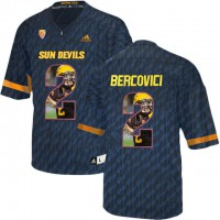 Arizona State Sun Devils #2 Mike Bercovici Black Team Logo Print College Football Jersey6