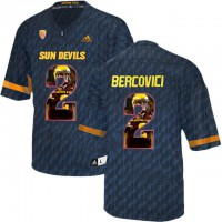 Arizona State Sun Devils #2 Mike Bercovici Black Team Logo Print College Football Jersey8