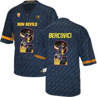Arizona State Sun Devils #2 Mike Bercovici Black Team Logo Print College Football Jersey9