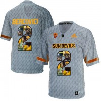Arizona State Sun Devils #2 Mike Bercovici Gray Team Logo Print College Football Jersey10