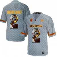 Arizona State Sun Devils #2 Mike Bercovici Gray Team Logo Print College Football Jersey13