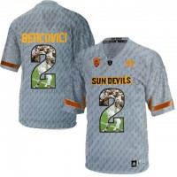 Arizona State Sun Devils #2 Mike Bercovici Gray Team Logo Print College Football Jersey16