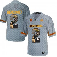 Arizona State Sun Devils #2 Mike Bercovici Gray Team Logo Print College Football Jersey4