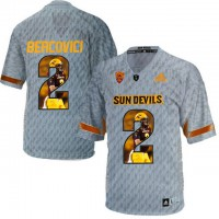 Arizona State Sun Devils #2 Mike Bercovici Gray Team Logo Print College Football Jersey8