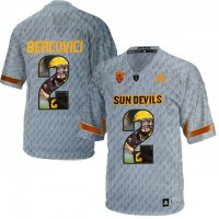 Arizona State Sun Devils #2 Mike Bercovici Gray Team Logo Print College Football Jersey9