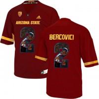 Arizona State Sun Devils #2 Mike Bercovici Red Team Logo Print College Football Jersey