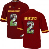 Arizona State Sun Devils #2 Mike Bercovici Red Team Logo Print College Football Jersey11