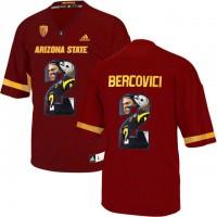 Arizona State Sun Devils #2 Mike Bercovici Red Team Logo Print College Football Jersey6