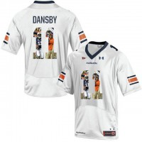 Auburn Tigers #11 Carlos Dansby White With Portrait Print College Football Jersey