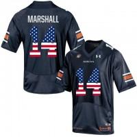 Auburn Tigers #14 Nick Marshall Navy USA Flag College Football Jersey