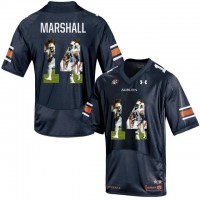 Auburn Tigers #14 Nick Marshall Navy With Portrait Print College Football Jersey