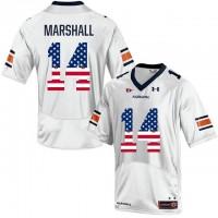 Auburn Tigers #14 Nick Marshall White USA Flag College Football Jersey