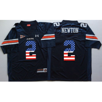 Auburn Tigers #2 Cam Newton Navy USA Flag College Jersey