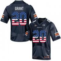 Auburn Tigers #20 Corey Grant Navy USA Flag College Football Jersey