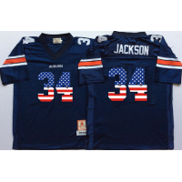 Auburn Tigers #34 Bo Jackson Navy USA Flag College Jersey