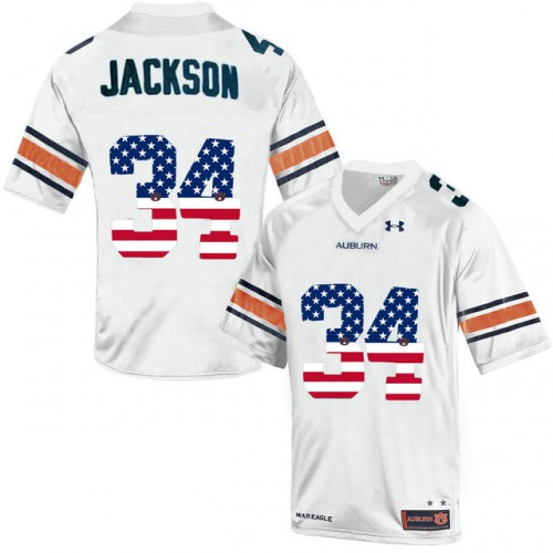 buy online a6e2d ce628 Auburn Tigers #34 Bo Jackson White USA Flag College Football ...