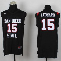 Aztecs #15 Kawhi Leonard Black Basketball Stitched NCAA Jersey