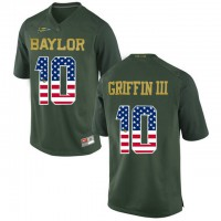 Baylor Bears #10 Rebort Griffin III Green USA Flag College Football Jersey