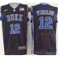 Blue Devils #12 Justise Winslow Black Basketball Stitched NCAA Jersey