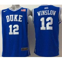 Blue Devils #12 Justise Winslow Blue Basketball Stitched NCAA Jersey