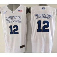 Blue Devils #12 Justise Winslow White Basketball Elite Stitched NCAA Jersey