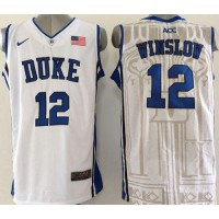 Blue Devils #12 Justise Winslow White Basketball New Stitched NCAA Jersey